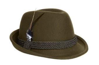 Alpine Holiday Oktoberfest Wool Bavarian Fedora Hat - Green - Medium (7 to 7 1/8)