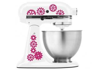 (Hot Pink (Magenta)) - Steampunk Gear Art Pattern - Vinyl Decal Set for Kitchen Mixers - Hot Pink (Magenta)