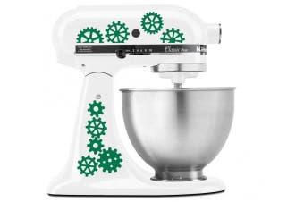 (Green) - Steampunk Gear Art Pattern - Vinyl Decal Set for Kitchen Mixers - Green