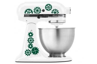 (Forest Green) - Steampunk Gear Art Pattern - Vinyl Decal Set for Kitchen Mixers - Forest Green