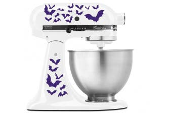 (Purple) - Halloween Spooky Bats Swarm - Vinyl Decal Set for Kitchen Mixers - Purple