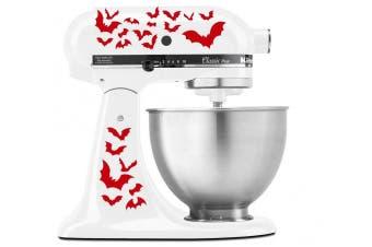 (Red) - Halloween Spooky Bats Swarm - Vinyl Decal Set for Kitchen Mixers - Red