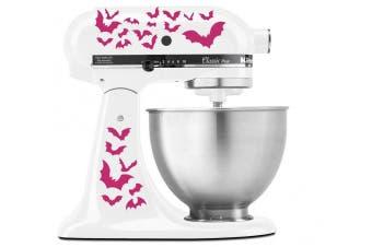(Hot Pink (Magenta)) - Halloween Spooky Bats Swarm - Vinyl Decal Set for Kitchen Mixers - Hot Pink (Magenta)