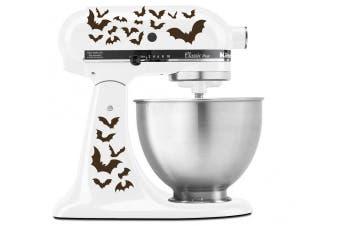 (Brown) - Halloween Spooky Bats Swarm - Vinyl Decal Set for Kitchen Mixers - Brown