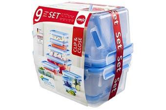 (Artikel 515481 - 9er Set, Transparent / Blau) - Emsa Clip and Close Storage Container Set, Transparent/Blue, 9-Piece