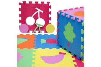 (Fruits) - LittleTom Soft Baby Play Mat Children Foam Puzzle 9 Large Floor Tiles Fruits