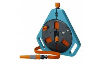 Gardena 756 15m Flat Garden Hose In Cassette With End Connector & Spray Nozzle