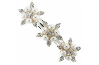 Triple Inflorescence Flower Austrian Crystal Bridal Hair Barrette French Clip
