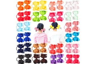"""(40pcs 4.5"""" Hair Bows) - 40Pcs 11cm Boutique Hair Bows Elastic Hair Ties Grosgrain Ribbon Big Cheer Bow Ponytail Holder Rubber Hair Bands for Girls Toddlers Kids Teens In Pairs"""