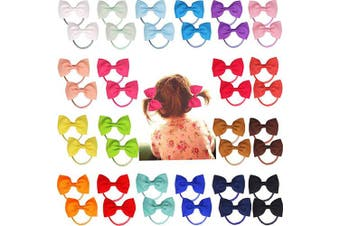 (1# Hair Tie) - 40pcs 7cm Boutique Hair Bows Tie Baby Girls Kids Children Rubber Band Ribbon Hair bands