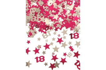 (18 Pink Silver Star Confetti) - Age 18 / 18th Pink Silver Star Party Table Foil Confetti - Wedding Anniversary Birthday Scater Throwing Decoration