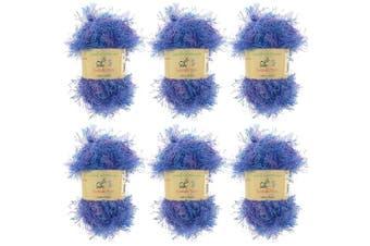 (6, Faded Blue) - BambooMN Brand - Eyelash Yarn - 50g - 6 Skeins - Faded Blue