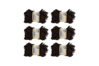 (6, Brown) - BambooMN Brand - Eyelash Yarn - 50g - 6 Skeins - Brown