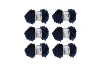 (6, Deep Blue) - BambooMN Brand - Eyelash Yarn - 50g - 6 Skeins - Midnight Blue