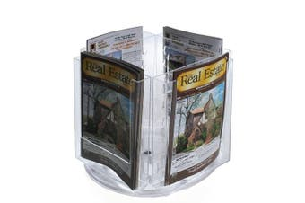 Bi-fold Size Four-Pocket Modular Brochure Holder on a Revolving Base