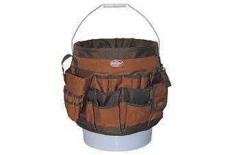 10056 Bucket Tool Organiser With 56 Pocket, Tan & Green