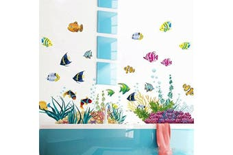 Amaonm® Removable DIY Vinyl Under the Sea Wall Decals Blue Grass and Fish Coral Wall Mural Multicoloured Wall Stickers Murals Home Art Decor For Kids Room Girls Bedroom Playroom Nursery Room Wall Concer Decorations
