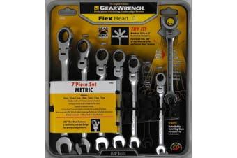 7 pc. Metric Full Polish Ratcheting Flex Head Combination Wrench Set