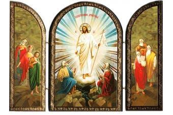 Catholic Orthodox Wood Resurrection of Christ Jesus Triptych Russian Icon 19cm