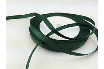 (Dark green) - Solid Colour Satin Ribbon 0.6cm ,25yds (Dark green)