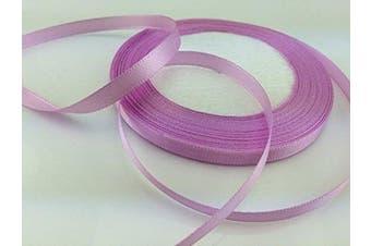 (purple powde) - Solid Colour Satin Ribbon 0.6cm ,25yds (purple pink)