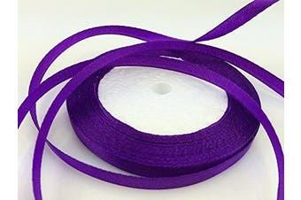 (purple) - Solid Colour Satin Ribbon 0.6cm ,25yds (purple)