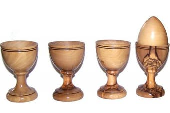 Four olive wood Egg Cups - great style - Asfour outlet brand - Set of 4