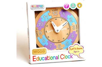 Wooden Let's Learn Educational Clock Jigsaw Puzzle Pre-School Learning Time Toy