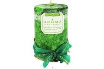 (Evergreen, 6.4cm  x 10cm ) - Aroma Naturals Evegreen Holiday Essential Oil Pillar Candle, Juniper, Spruce and Basil, 6.4cm x 10cm