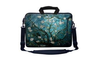 (Vincent van Gogh Almond Blossoming) - Meffort Inc 17 44cm Neoprene Laptop Bag Sleeve with Extra Side Pocket, Soft Carrying Handle & Removable Shoulder Strap for 41cm - 44cm Size Notebook Computer - Vincent van Gogh Almond Blossoming