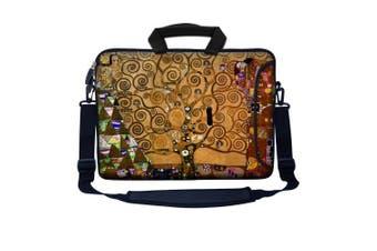 (Klimt Tree of Life Design) - Meffort Inc 17 44cm Neoprene Laptop Bag Sleeve with Extra Side Pocket, Soft Carrying Handle & Removable Shoulder Strap for 41cm - 44cm Size Notebook Computer - Klimt Tree of Life Design