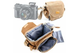 DURAGADGET Light Brown Medium Sized Canvas Carry Bag - Compatible with the NEW Canon PowerShot G7 X Mark II | PowerShot SX720 HS - With Multiple Pockets, Customizable Interior & Adjustable Shoulder Strap