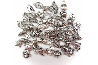 (PENDANT 55PCS) - ALL in ONE 60 Gramme Mixed Antique Silver Tibetan Style Beads/flower Cup Beads/spacer Beads Charms Jewellery Findings (PENDANT 55PCS)