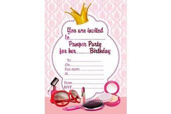 (With White Envelopes) - 10 x Girls Birthday Pamper Party Invitations