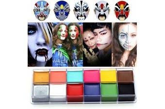 (One Size, #1 + #2) - CCbeauty Professional Face Paint Oil 24 Colours Painting Art Party Fancy Make Up Set 1 + Set 2