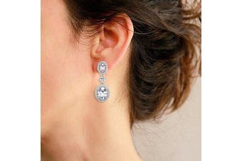 (925 Sterling Silver) - EVER FAITH Women's 925 Sterling Silver CZ Luxurious Round Bridal Dangle Pierced Earrings Clear