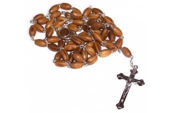 (Oval with Soil Center - 10 x 6 mm Beads) - Holy Land Market Olive Wood Rosary with Soil from Bethlehem - with certificate and velvet bag