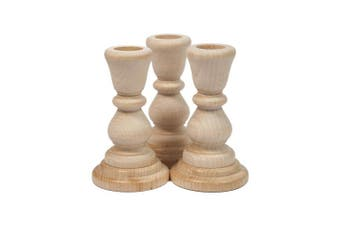 (3) - Unfinished Candlesticks 10cm , Unfinished Wood Candlesticks 10cm - Bag of 3