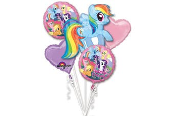 My Little Pony Bouquet of Balloons 1 Supershape 28x27, 2 Pink Heart, 2 Happy Birthday 46cm Party Hit W Ribbons Too!