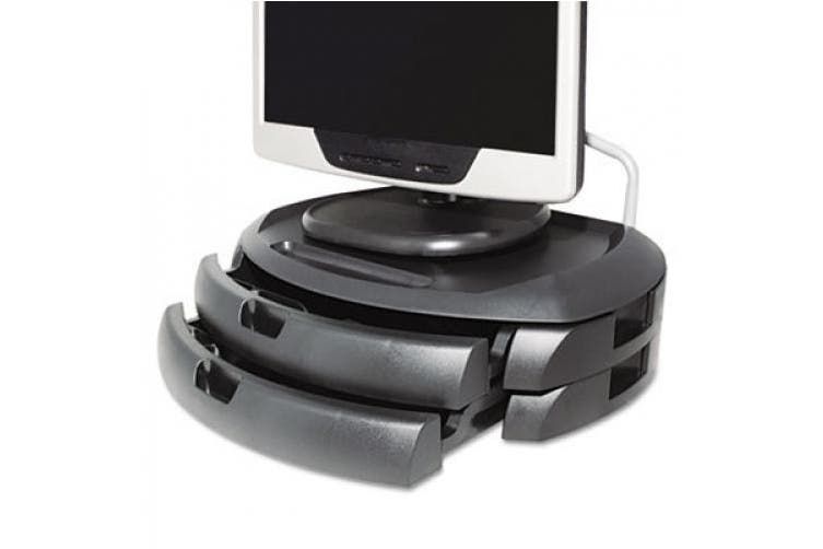 Kantek MS200B LCD Monitor Stand with Two Drawers 18w x 12 1/2d x 5h Black