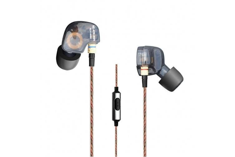 (ATE Black w/mic) - KZ ATE Hi-Fi IEM Sports Headphones with Copper Driver Ear Hook and Foam Eartips Specially for Music Fans, Mic Edition