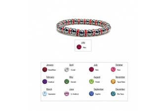 (07 - Ruby) - Accents Kingdom Women's Magnetic Hematite Tuchi Simulated Pearl Bracelet