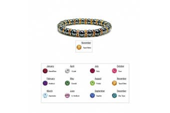 (11 - Citrine) - Accents Kingdom Women's Magnetic Hematite Tuchi Simulated Pearl Bracelet