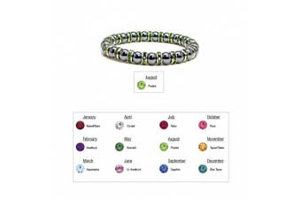 (08 - Peridot) - Accents Kingdom Women's Magnetic Hematite Tuchi Simulated Pearl Bracelet