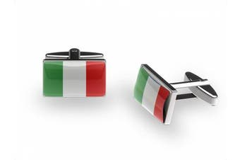 Italian Tricolore Cufflinks (Italy flag cufflinks with gift box)