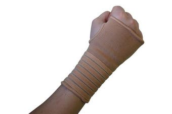 (Large (17-19 cm), Black) - Actesso Elastic Wrist Support With Strap (Black or Beige), (L, Black)- Ideal for Sprains, Injury or Sports Use with no metal bar - Provides excellent support without inhibiting the wrists flexibility