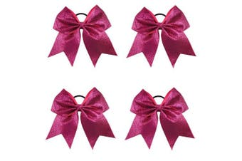 (Hot Pink) - CN 4Pcs 18cm Glitter Cheerleader Bows With Ponytail Holder Girls Sparkle Bow