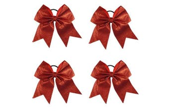 (Red) - CN 4Pcs 18cm Glitter Cheer Bows With Ponytail Holder Girls Sparkle, Red, Cheer Bow
