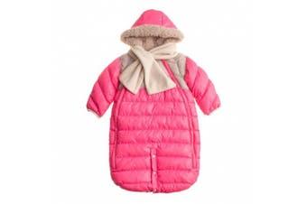 (Medium, Neon Pink/Beige) - 7AM Enfant Doudoune One piece Infant Snowsuit Bunting, Neon Pink/Beige, Medium