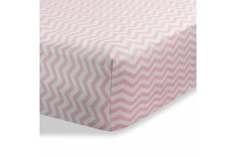 (Zigzag Pink) - Cradle Sheets Fitted 46cm X 90cm – Cradle Sheets for Boys and Girls - Abstract cradle sheets for Baby - Infant Deep Fitted Soft Jersey 100% Cotton Knit Cradle Sheets (Zigzag Pink)